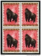 Ruanda 0205**x4 -  10c Gorille  MNH - Ruanda-Urundi