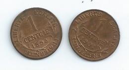 Monnaie FRANCE 2 Pieces De 1 Centime  Troisieme Republique 1898 Et 1901 T T B + Port 1 Euro - France