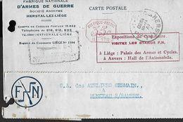 ! - Belgique - Carte Imprimée Avec Cachet De Valeur 35c - Fabrique Nationale D'Armes De Guerre - 1930 - Belgique