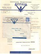 4251 PARIS 74 Lettre Entête Avec Contenu Laboratoire Pharmaceutique EFFICIA 90c Paix Laurens Bleu Yv 368 Ob 15 3 1939 - Pharmacie