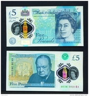 GREAT BRITAIN  -  2015  £5  Polymer  Winston Churchill  UNC. - 1952-… : Elizabeth II