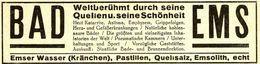 Original-Werbung/ Anzeige 1928 - BAD EMS - Ca. 140 X 35 Mm - Werbung