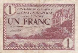 Chambre De Commerce De Chateauroux Et De L'Indre - Un Franc - 3 Février 1922 - Filigrane Abeille - Chambre De Commerce