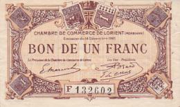 Chambre De Commerce De Lorient - Un Franc - 14 Décembre 1921 - F - Sans Filigrane - Chamber Of Commerce