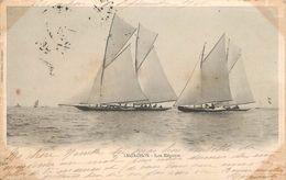 BASSIN D'ARCACHON- Les Régates ,voiliers (carte 1900). - Voiliers