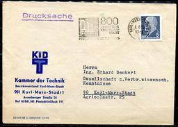 """DDR,GDR 1965 Drucksache Bedarfsbrief Mit Mi.Nr. 845 U. MWST""""Karl-Marx-Stadt-800 JahrfeierKarl-Marx-Stadt,Festtag""""1 Beleg - Briefe U. Dokumente"""