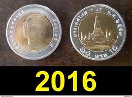 Thailand Coin Circulation 10 Baht Bi Metal Year 2016 UNC - Thailand