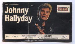 Ticket Entrée Concert Johnny Halliday Dijon 06/07/1991 - Tickets D'entrée