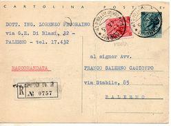 1955 Italien Italia Intero Raccom Sir £20+35 Vg Palermo R-Ganzache - 6. 1946-.. Repubblica
