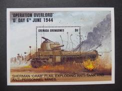 Bloc 304 Feuillet  Guerre Mondiale Tank Sherman 1944 Grenada Grenadines ( Opération Overlord ) - Guerre Mondiale (Seconde)