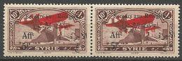 SYRIE PA N° 37 ET 37a - AU SANS X EN PAIRE NEUF* INFIME TRACE CHARNIERE TTB / MH - Syria (1919-1945)