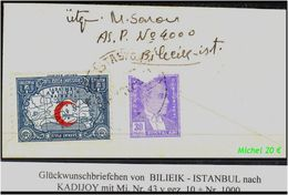 TURKEY , EARLY OTTOMAN SPECIALIZED FOR SPECIALIST, SEE....Glückwunschbriefchen Mit Mi. Nr. 43 Y - 1921-... Republik