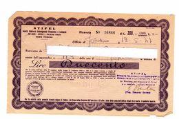 RICEVUTA LIRE Duecento STIPEL 1947 (rete Di Fossano) - Italia