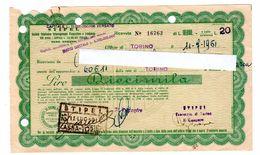 RICEVUTA LIRE Diecimila STIPEL 1951 (rete Di Torino) - Italië