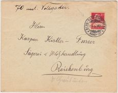 """SWITZERLAND 1926 COVER TO REICHENBURG (Schwyz) RAILW.PM """"Bern-Belp-Thun-Bern"""" - Switzerland"""