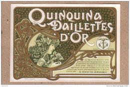 PUBLICITE - ETIQUETTE - DESSIN ART NOUVEAU , PROFIL DE JEUNE FEMME - QUINQUINA PAILLETTES D'OR - Etiquettes