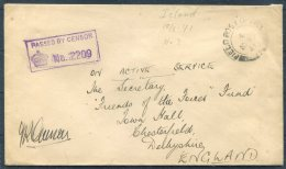 1941 Iceland FPO 2 Field Post Office Censor Cover OAS - 'Friends Of The Forces' Fund, Chesterfield Town Hall, England - 1918-1944 Administration Autonome