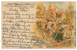 UK 24 - ( 5592 ) Ukraine, Hungary - Litho, MUKACHEVO, Entry Ferencz Racoczy In City - Old Postcard Stationery - 1898 - Ukraine