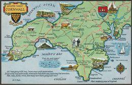 Map - South West Cornwall, C.1960 - Salmon Postcard - England
