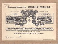 LOIRE - CHAZELLES SUR LYON - PUBLICITE - FABRIQUE FRANCAISE DE CHAPEAUX DE FEUTRE & LAINE - EUGENE PROVOT - Visiting Cards
