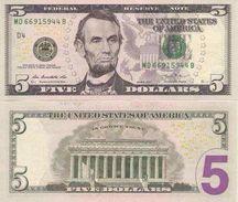 USA New 5 Dollars 2013  UNC - Biljetten Van De  Federal Reserve (1928-...)