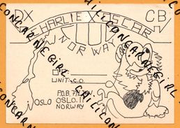 QSL - Carte Faite à La Main - Personnage Dessin Animé - Charlie Oscar - Club Norway - Oslo - DX CB - 1985 - Carte QSL