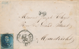713/25 - Lettre TP 15 Médaillon 20 C Perception Barres 119 De TONGRES En PORT FRONTALIER Vers MAESTRICHT - PD Encadré - 1863-1864 Medallones (13/16)