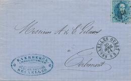 714/25 - Lettre TP 15 Médaillon 20 C Points 64 De BRUXELLES OUEST - Cachet Verbeeck , Chaudronnier , Fonderie De Cuivre - 1863-1864 Medaillons (13/16)