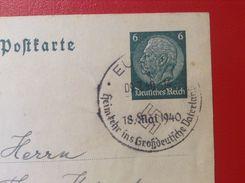 AK Stempel Eupen 1940 Heimkehr Ins Großdeutsche Vaterland 18. Mai 1940 - Eupen Und Malmedy
