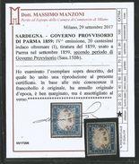 1859 : 20 Cent Indacoltremare (I) Ann. PARMA Gov.Provv. Att. Manzoni (€ 120+) - Sardegna