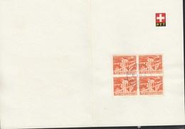 SCHWEIZ  530, 4erBlock, Gestempelt, Technik Und Landschaften 1949 Auf Faltblatt Der PTT - Cartas