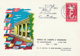 1969 Luxembourg COUNCIL OF EUROPE 10th ANNIV EVENT COVER Card Stamps Europa European - Luxembourg