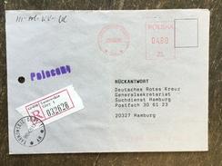 E15 Polen Poland Pologne 1996 R-Brief Mit Afs Von Tarnowskie Gory An Das Rote Kreuz In Hamburg - 1944-.... République
