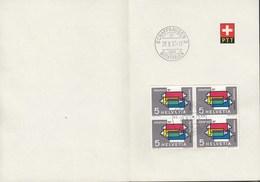 SCHWEIZ  637 4erBlock, Mit Stempel: Schaffhausen Buchthalen 29.X.1957 Auf Faltblatt Der PTT - Cartas