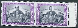 Italia 1957 ; Anniversario Di San Domenico Savio : Coppia Con Bordo A Destra. - 1946-60: Mint/hinged