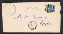 REGNO: 1878  VITT. EM. II° -  10 C. AZZURRO ( 27)  -  ANN. A  SBARRE  DI  FOLLINA  2590 + DOPPIO  CERCHIO  PER  TREVISO - Marcofilie