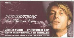 Publicité , Spectacle , Artiste , Musique , JACQUES DUTRONC , 2009, Les Années VOGUE , Frais Fr : 1.55 E - Advertising