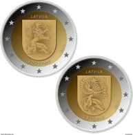 Letland-Lettonia 2017  2 X 2 Euro  Commemo  Regio Latgale En Kurzeme   UNC Uit De Rol  UNC Du Rouleaux  !! - Latvia