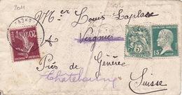 2011# BLANC PASTEUR LETTRE Obl FB 84 COMPLEMENT AFFRANCHISSEMENT Obl VERGNIER GENEVE SUISSE - Marcophilie (Lettres)