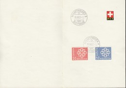 SCHWEIZ  679-680, Mit Stempel: Schaffhausen Buchthalen 18.VII.1959 Auf Faltblatt Der PTT - Cartas