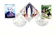 MONACO. N°492-4 De 1958 Sur Enveloppe 1er Jour. Apparitions De Lourdes. - Christianity