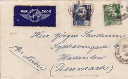2014# GANDON LETTRE PAR AVION Du S.S. BERRY PAQUEBOT Obl MARSEILLE BOUCHES DU RHONE 1946 Pour DANEMARK - Marcofilia (sobres)