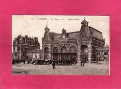 59 Nord, Cambrai, La Gare, Animée, Voitures, (A La Civette, ND)) - Cambrai
