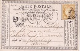 2020# CERES CARTE PRECURSEUR Datée De CLAIRVIX OR ORIGINE RURALE Obl COMPIEGNE 1875 SOMME Pour FOLMBRAY AISNE - 1849-1876: Période Classique