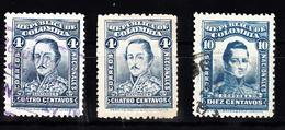 Colombia 1917 Mi Nr 242 + 244 Francisco De Paula Santander + Cordoba - Colombia