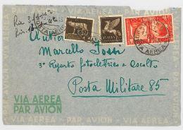 LETTERA VIAGGIATA 1941 VIA AEREA PLURIAFFRANCATA (SX90 - 1900-44 Victor Emmanuel III.