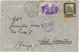 LETTERA VIAGGIATA DA LIBIIA 1941 (STRAPPO SOTTO FRANCOBOLLO) CENSURA (SX212 - Libyen