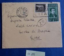 LETTERA VIAGGIATA 1937 CON COMMEMORATIVO CENT.25 LEOPARDI (SX292 - 1900-44 Vittorio Emanuele III