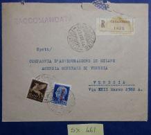 RACCOMANDATA VIAGGIATA 1944 REPUBBLICA SOCIALE L.1,25 + 50 CENT POSTA AEREA (SX461 - 4. 1944-45 Repubblica Sociale
