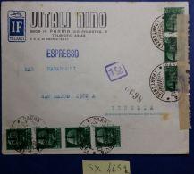 ESPRESSO VIAGGIATO REPUBBLICA SOCIALE CON STRISCIA DI 4+3 DA 0,25 SS+CENSURA (SX465 - 4. 1944-45 Repubblica Sociale